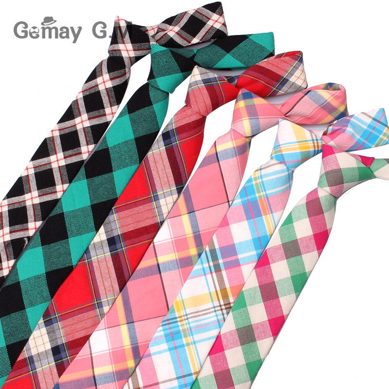 New Casual Plaid Ties For Men Narrow Cotton Necktie For Wedding Colorful Mens Neck Ties Business Tie Adult Cravat