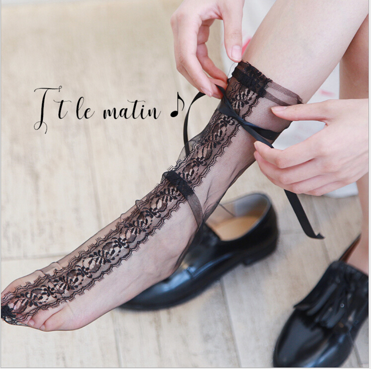 3 Colors Women's Luxurious Eyelash Lace Ribbon   Socks   Ladies Transparent Floral Lace   Socks   Mesh Bow Fishnet   Sock   Sox Hosiery