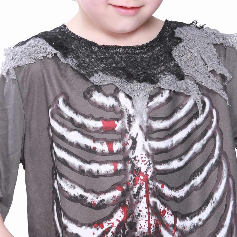 スケルトンブラッディゾンビ男の子衣装ハロウィンコスチューム子供のための怖い衣装カーニバルスカルゴーストホラーコスプレファンシー衣装