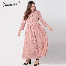 Simplee Zarif dantel uzun elbise kadın artı boyutu Uzun kollu mesh hollow out maxi elbise Sonbahar kadın işlemeli parti vestidos