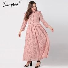 Simplee elegante vestido de encaje largo de mujer de talla grande de manga larga de malla ahuecado maxi vestido de otoño femenino bordado vestidos de fiesta