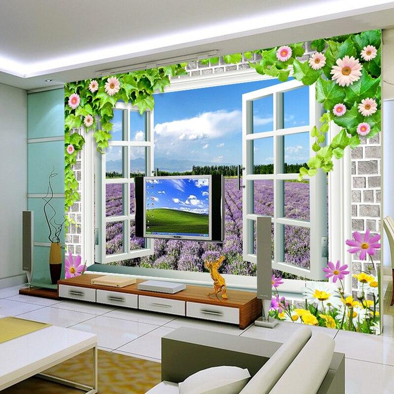 Benutzerdefinierte 3D fototapete landschaft außerhalb fenster tapete wandbild lila lavendel