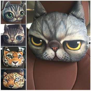 Newest 2019 3D Printed Dog Cat face Car Headrest Neck Rest Auto Safety Cushion/ Support Without Filler - discount item  18% OFF Interior Accessories