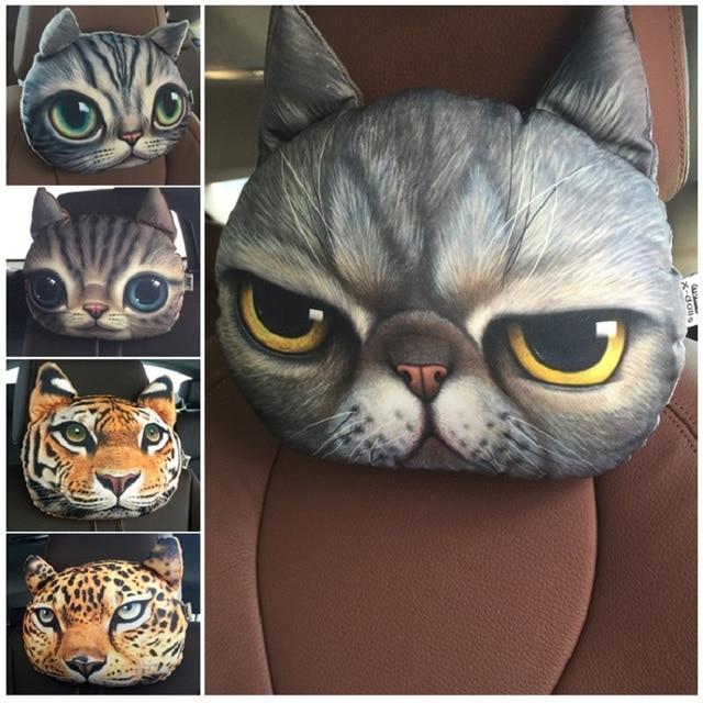 Più nuovo 2019 3D Stampato Cane Gatto faccia Auto Poggiatesta Poggiatesta Auto Collo Cuscino di Sicurezza/Auto di Sostegno del Collo Poggiatesta senza Filler