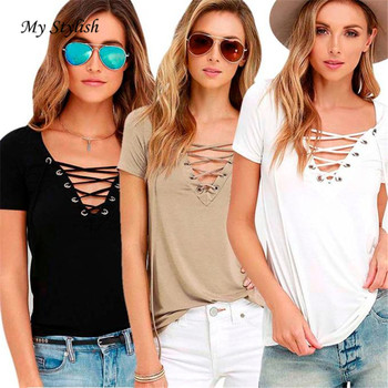 Women Blouse Loose Pullover Shirt Short Sleeve Strappy High Quality V-Neck