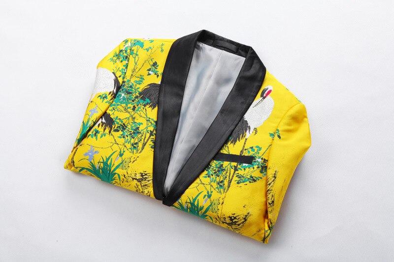 Желтый пиджак, роскошный мужской блейзер с принтом, приталенный, Цветочный, для мужчин, одежда для сцены, Блейзер, стильный, вечерние, для сва... - 4
