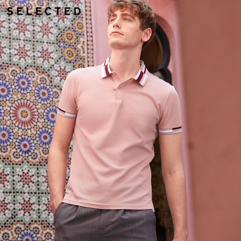 SELECTED Men's 100% Cotton Slim Fit Turn-down Collar Short-sleeved Poloshirt S|419206506