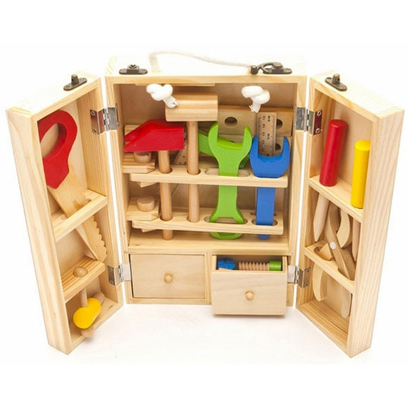 Baby Wooden Toy Kids Handle Tool Box Games Learning Educational Wooden Tool Toy Screw Assembly Garden Toys For Children Boy
