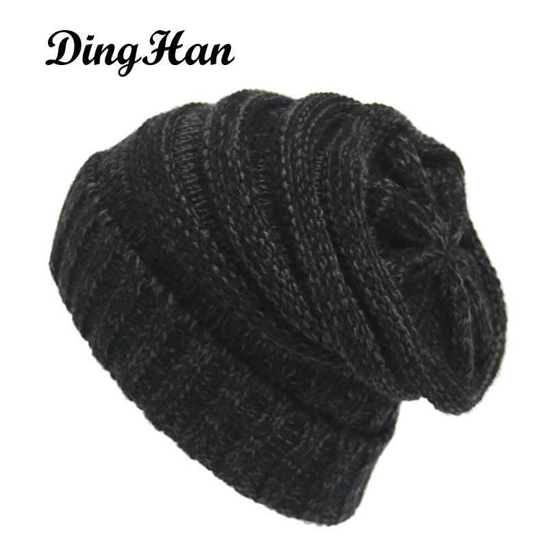 [DingHan] Unisex Skullies Bonnet Winter Hat For Women Men Balaclava Thicker Warm Woolen Knitted Hat Solid Skullies Caps Headgear skullies
