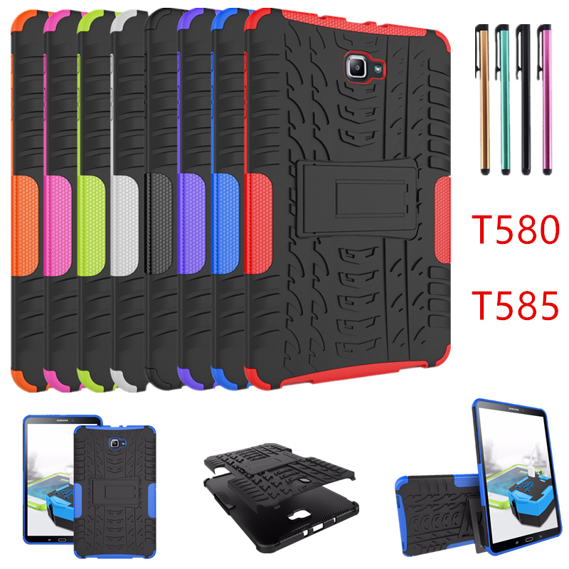 For Samsung GALAXY Tab A A6 10.1 Case T580 T585 T580N T585N 10.1inch Tablet Case Silicon TPU+PC Shell Shockproof Stand Cover+pen