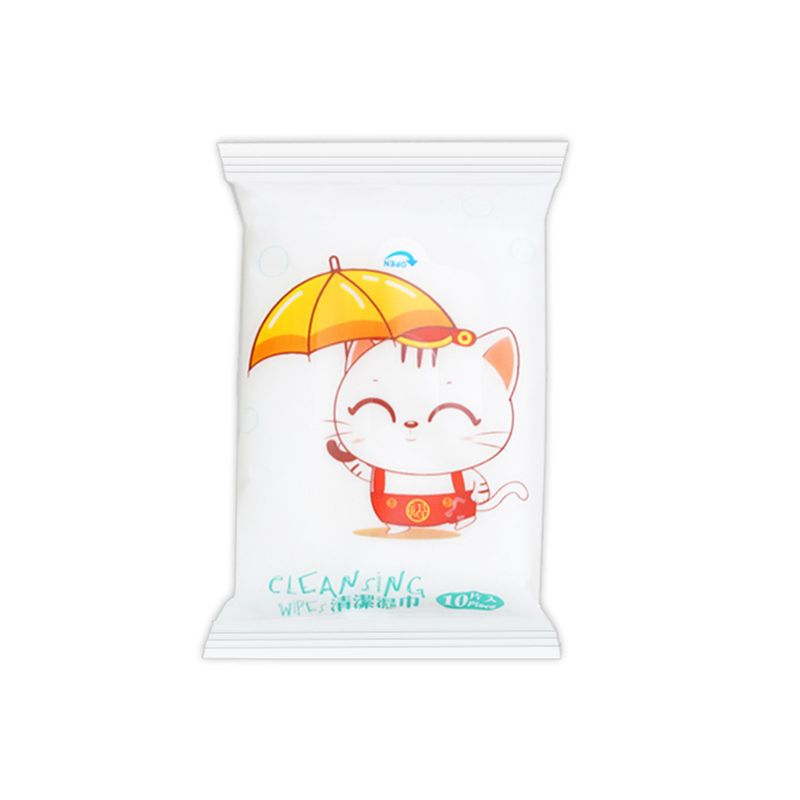 10Pcs/Bag Disposable Flip-Top Removal Wet Wipes Cute Cartoon Umbrella Cat Printed Infant Baby Mom Cleaning Tissue Towel Individu