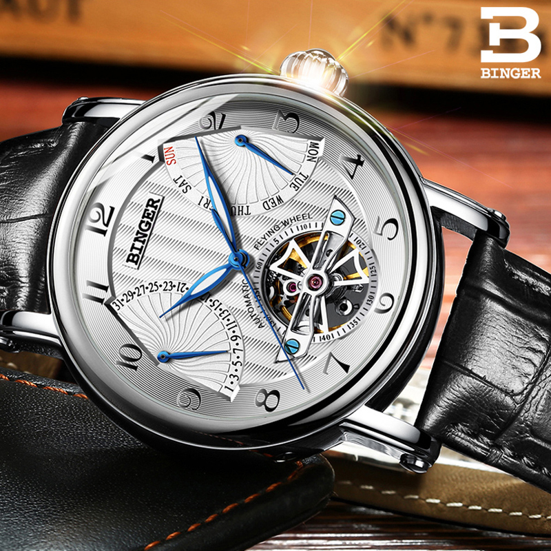 Switzerland BINGER Men Luxury Brand Men Automatic Mechanical Watch Tourbillon Business Leather Man Calendar Watches Mens relogioSwitzerland BINGER Men Luxury Brand Men Automatic Mechanical Watch Tourbillon Business Leather Man Calendar Watches Mens relogio