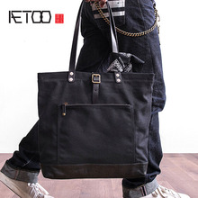 AETOO Vintage Canvas Hand bag male and female universal package large capacity shoulder