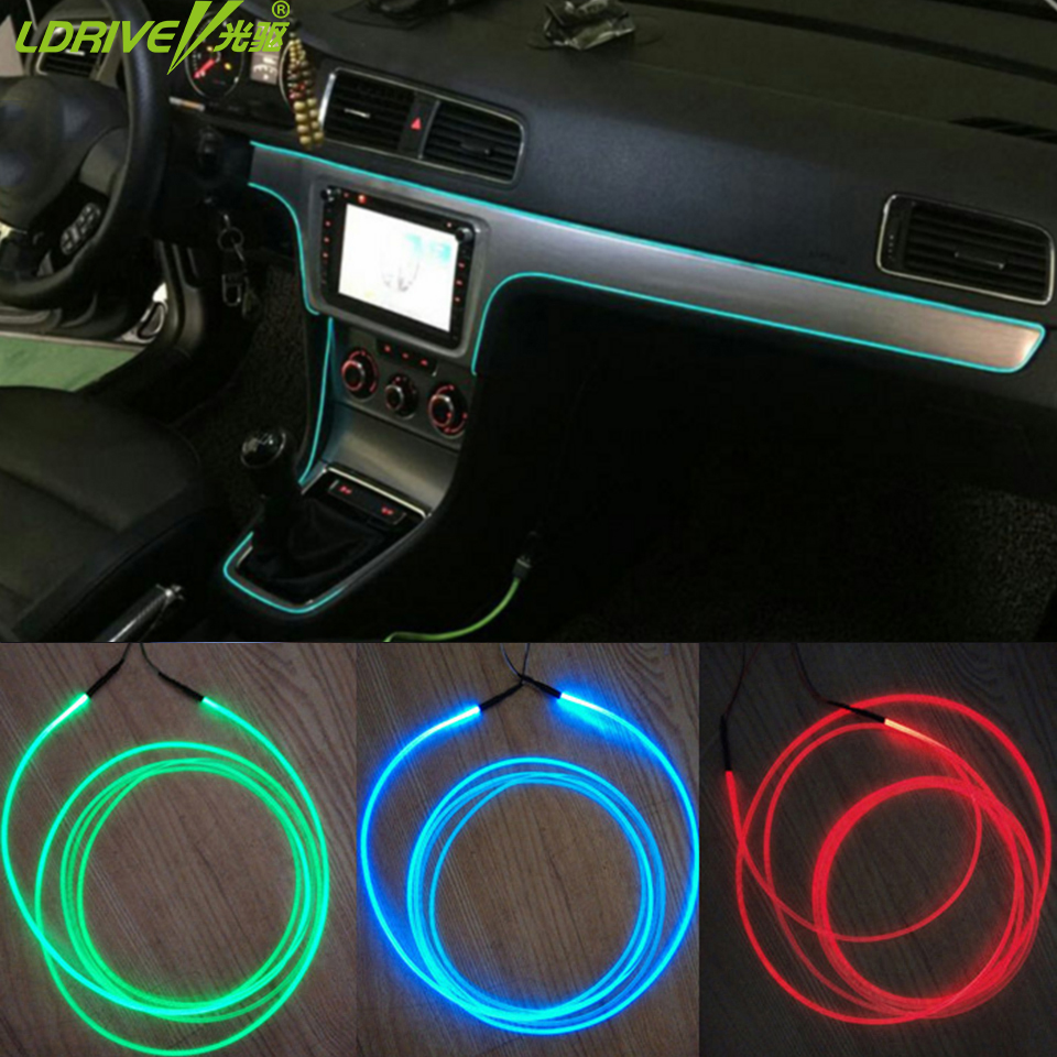 1 5m 5pcs 12v diy optic fiber band lamp car interior decorative lights refit for all car console. Black Bedroom Furniture Sets. Home Design Ideas