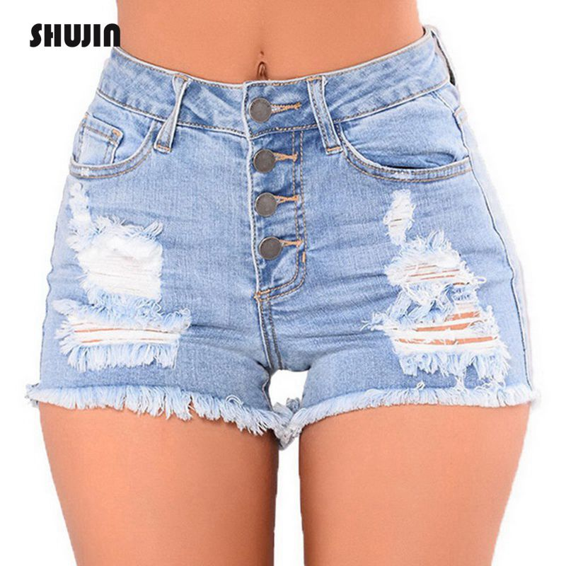 SHUJIN 2018 Shirt Jeans Fashion High Waist Denim   Shorts   Women Hole Ripped Summer Streetwear Female Casual   Shorts   Plus Size
