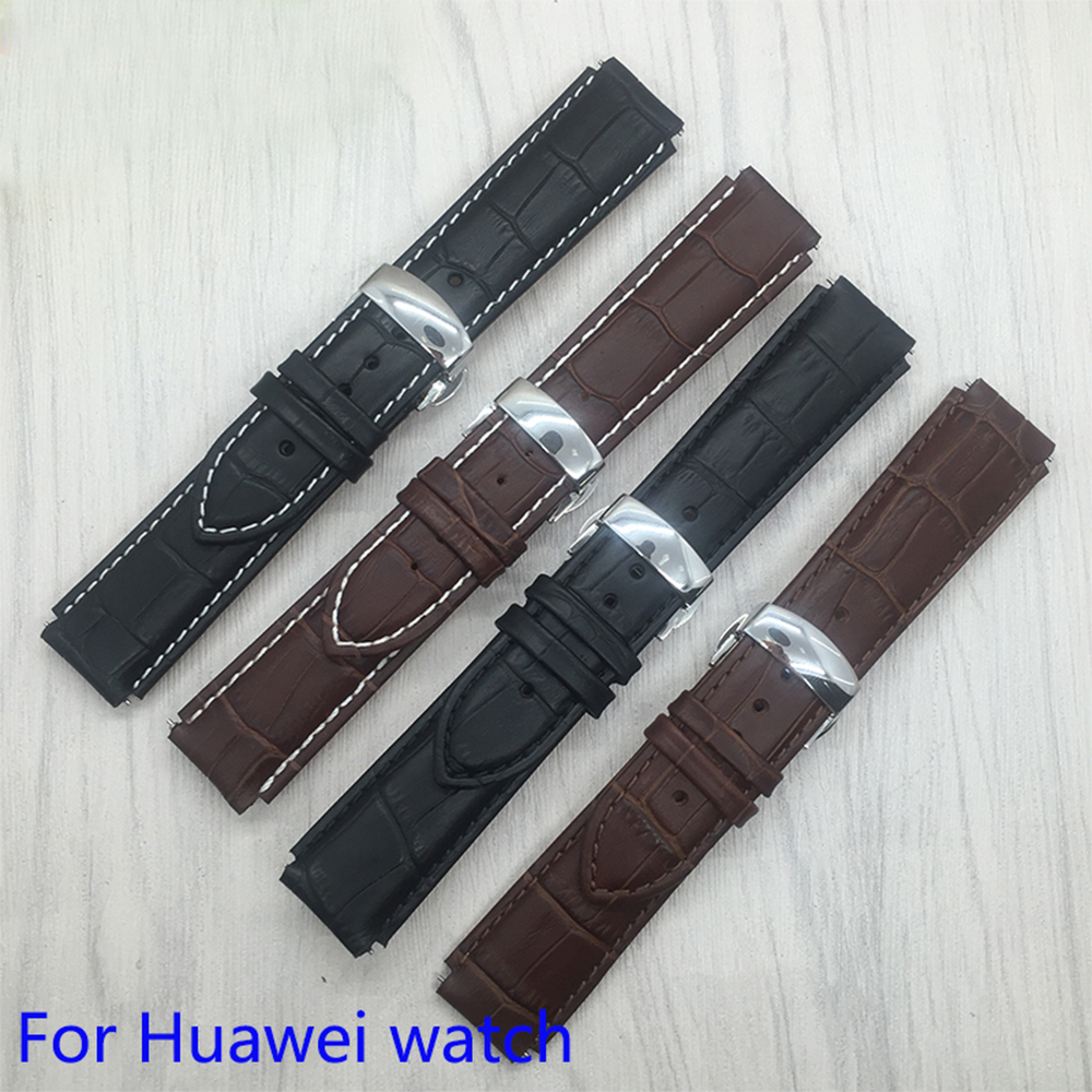 все цены на Smart Watchband 22x18mm Quality Genuine Leather Strap for Huawei watch Quick Release Replacement Leather Watch bands онлайн