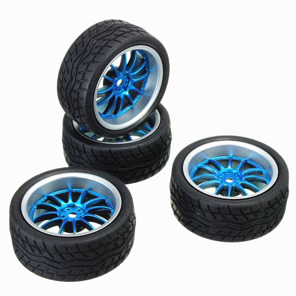 4Pcs Rubber RC Flat Racing Car Tires On Road Wheel 12-spoke Wheel Rim For Robots, Intelligent Cars, Model Cars, RC Car cml rc 1 10 soft rubber racing grip tires model for on road flat run car 4 pcs