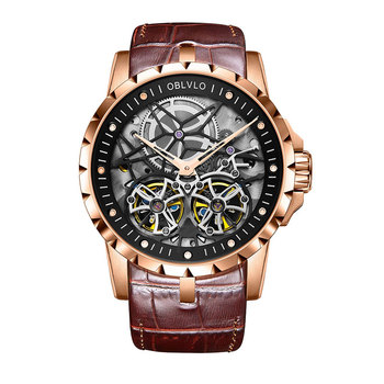 2019 OBLVLO Mens Military Watches Automatic Watches Waterproof Rose Gold Skeleton Watch Brown Leather Strap Montre Homme OBL3606 - OBL3606RSSW