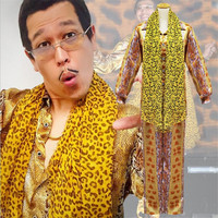 Adult PPAP Costume Leopard print Pen Uniform Suit Outfit Clothes Shirt Pants Scarf Suit Cosplay Comical Halloween Party