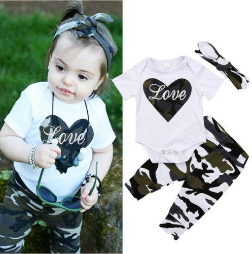 3PCS Fashion Newborn Kids Baby Girls Tops Heart Romper+Camo Pants+Headband Outfits Kids Clothes 0-18M