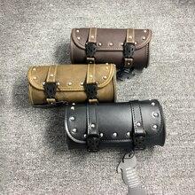 Vintage negro de la motocicleta bolsas de cuero de la PU de otorbike lado herramienta de la cola bolsa de equipaje para Harley motocicleta Universal bolsas