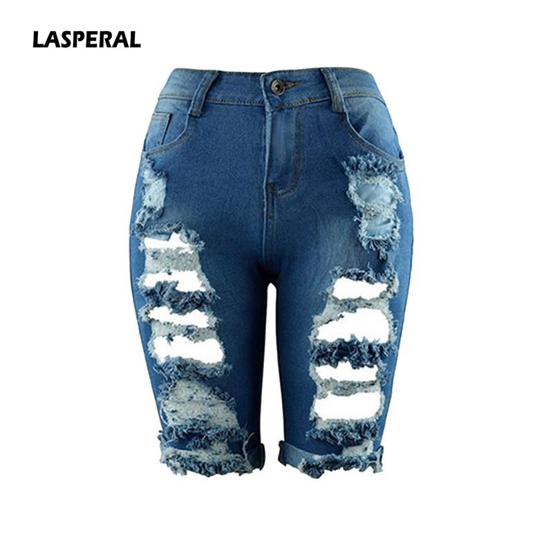 LASPERAL Women 2018 Summer Half Length Jeans Ripped New High Waist Fashion Streetwear Hole Stretch Slim Torn Woman Denim Shorts