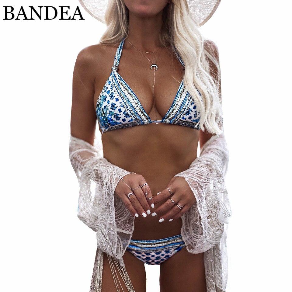 BANDEA 2018 Sexy Women Swimsuit Push Up Swimwear Female Halter Top Brazilian Bikini Set Printed Beach Bathing Suit Biquini