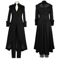 4XL Medieval Retro Hooded Coats Long Trench 2018 Women Vintage Gothic Steampunk Trench Coat Female Cosplay Costume Outwear