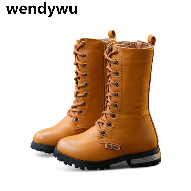 WENDYWU autumn winter mid calf boots for baby girls pu leather shoes children fashion boots boys brand motorcycle boots