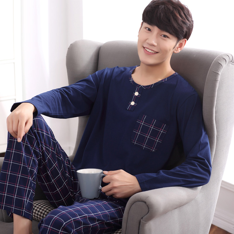 Yidanna Male Long Sleeve Pajama Set For Men Casual Sleepwear Cotton Lounge Pyjama Nighties+striped Pants Homewear 2 Piece Autumn