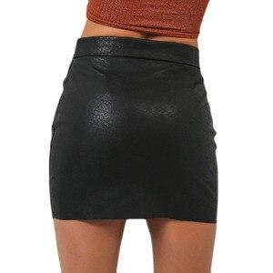 Image 2 - Women PU Leather Skirts Women Sexy Short Black High Waist O Ring Zipper Design Pencil Skirt