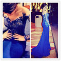 Robe de Soiree 2017 Custom made Fashion Sexy Mermaid Evening Dress Royal blue dress Lace Gown Long Sleeves Evening Gown