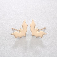 CHENGXUN Gothic Stud Earrings Bat Animal Charm Jewelry Teens Cool Punk Ear Piercing Gold Silver Color for Male Female