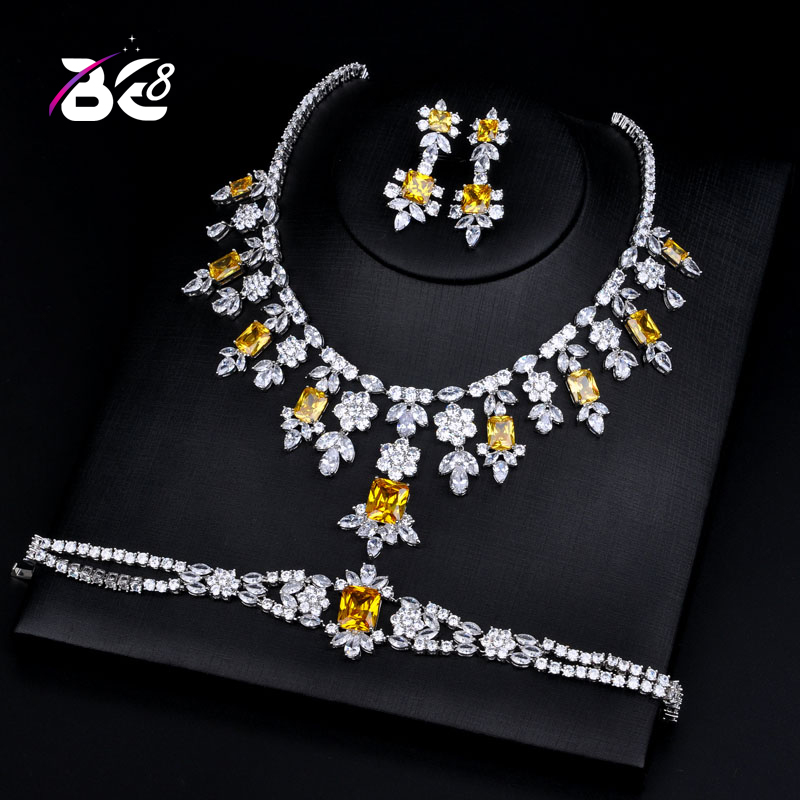 Be 8 Luxury Bridal Wedding Jewelry Sets AAA CZ Classic Design Women 3pc Set Engagement Ceremony and Anniversary bijoux femmeS129