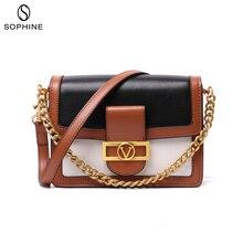 2019 Fashion luxury brand style women bag messenger bags flap genuine leather handbag Panelled design