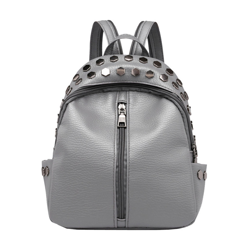 Ladies Fashion Small Backpack Rivet Vintage Women Backpack Teenagers Mini School Bag Black PU Leather Women Travel Rucksack