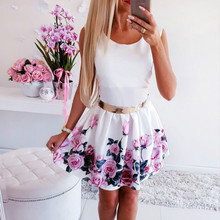 Summer Sleeveless Floral Dress Casual Women Patchwork Round Neck Mini Party Dress недорого