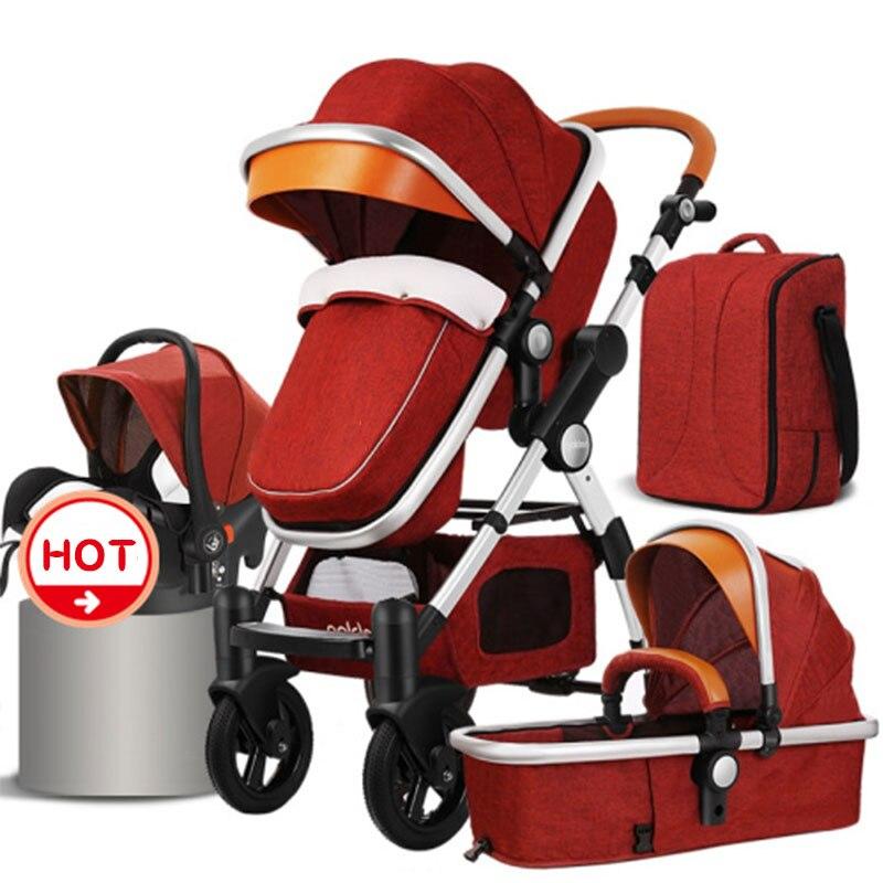 États-unis livraison gratuite! HJBB haute paysage poussette bébé peut s'asseoir inclinable chariot pliant 4 en 1 avec siège auto confortable