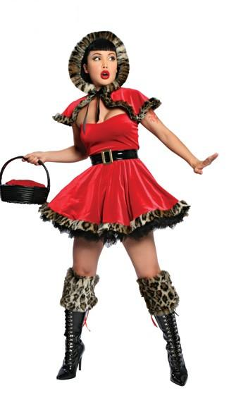 Free Shipping Red Feather Trimed Lady Christmas Costume
