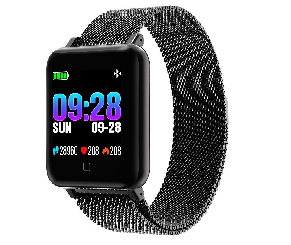 Swimming Blood Pressure Heart Rate Monitor 2019 New Smart Sport Watch Cardio Color Screen Silicone Stainless Steel Sportwatch