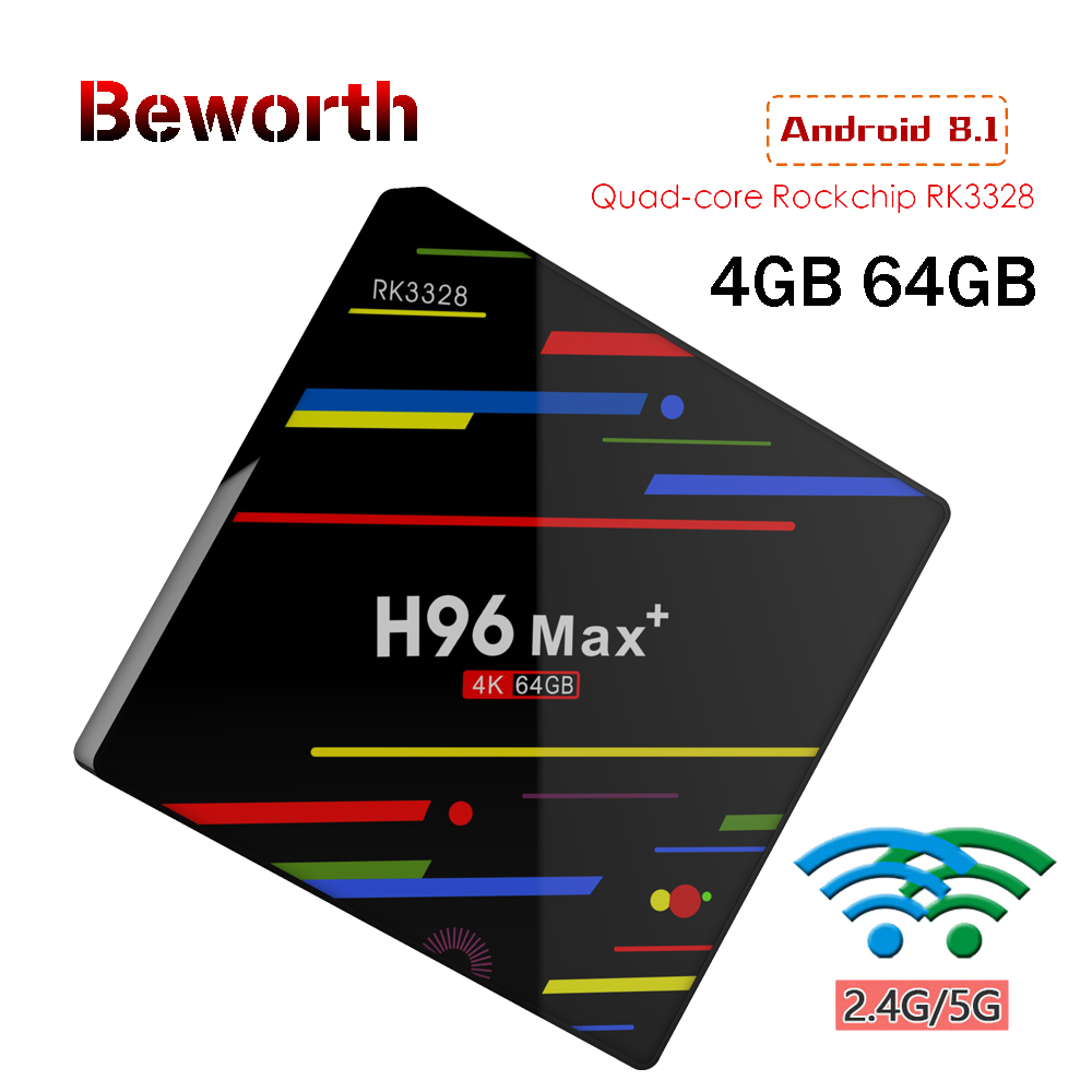 H96 MAX + Smart TV Box Android 8.1 RK3328 4 gb 64 gb Set Top Box HDR10 USB3.0 2.4g /5g WiFi 4 k H.265 HD Smart Media Player