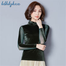 Office Lady Tops Plus Size Mesh Top 2018 Autumn Golden Velvet Short Turtleneck Lace Black Green Bottoming Fashion T-Shirt CX488(China)