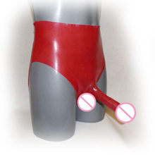 Fetish Men's Red Latex Underwear with Penis Sheath Rubber Panties With Penis Condom