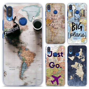 World Map Travel Just Go pattern Transparent hard Phone Case cover for Huawei P Smart P20 P20Lite P10 Lite P8 P9 Lite 2017 mobile phone case
