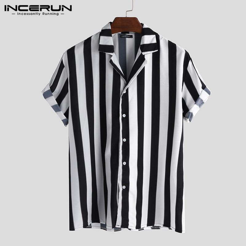 INCERUN Casual Men Striped Shirt Breathable Loose Lapel Neck Short Sleeve Tops 2020 Streetwear Vacation Brand Shirts Men Camisa