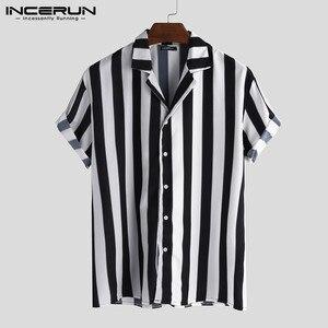 INCERUN Casual Men Striped Shi