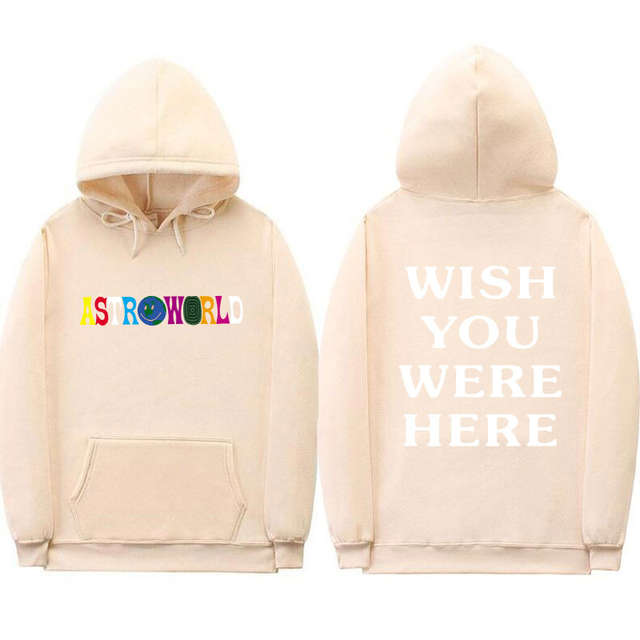 7709fcc64683 TRAVIS SCOTT ASTROWORLD WISH YOU WERE HERE HOODIES fashion letter  ASTROWORLD HOODIE streetwear Man woman Pullover Sweatshirt -in Hoodies &  Sweatshirts from ...