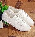 Весна Новый холст Обувь Женщина Мода Зашнуровать Белые Туфли Женщина Квартиры Для леди Размер 35-40