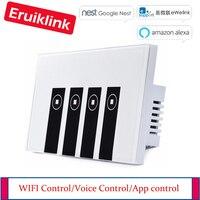Trabalhar com o google alexa inteligente wi-fi 4 gang interruptor de luz do painel de vidro  ewelink app controle remoto interruptor de toque wi-fi