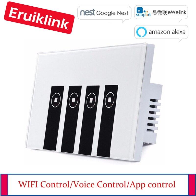 Travail avec Google Alexa Smart Wi-Fi 4 Gang Commutateur Panneau de Verre Interrupteur de Lumière, eWelink APP Télécommande WIFI Tactile Commutateur